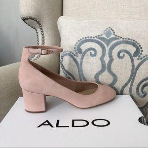 Aldo Clarisse Pink Suede Pump Shoes Ankle Strap